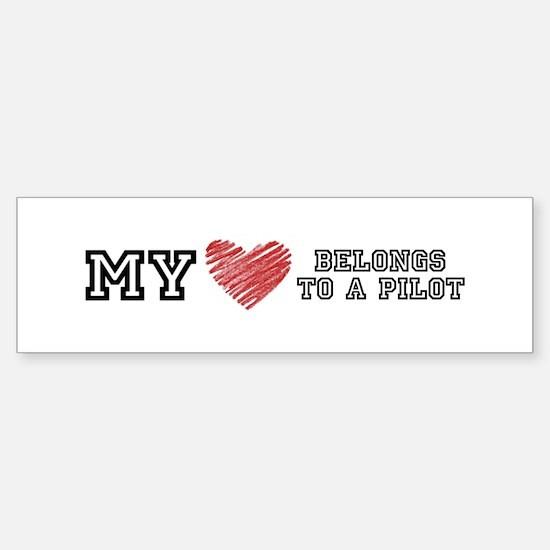 My Heart belongs to a pilot! Bumper Bumper Bumper Sticker