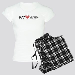 My Heart belongs to a pilot! Women's Pajamas
