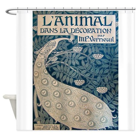 White Peacock, Vintage Poster Shower Curtain