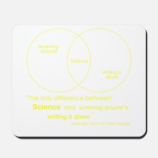 Mythbusters Science Quote (yellow) Mousepad