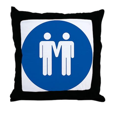 Man on Man Love in Blue Throw Pillow