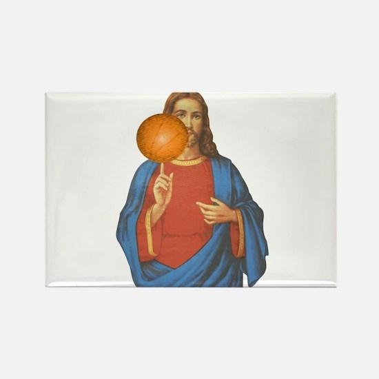 Jesus Christ Basketball Star Rectangle Magnet