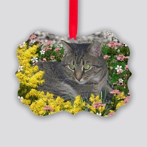 Mimosa Tiger Tabby in Flowers Picture Ornament