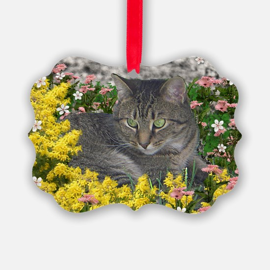 Mimosa Tiger Tabby in Flowers Ornament