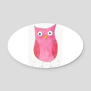 Pink Owl Oval Car Magnet