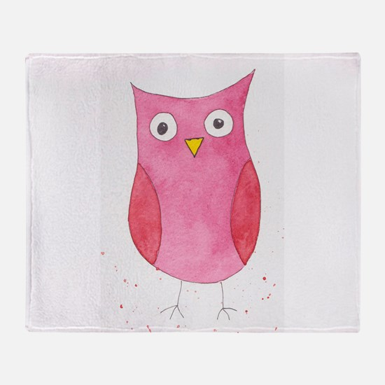 Pink Owl Throw Blanket