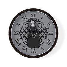 Widow With Funeral Wreath Wall Clock