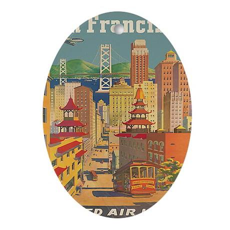 San Francisco, Travel, Vintage Poster Ornament (Ov