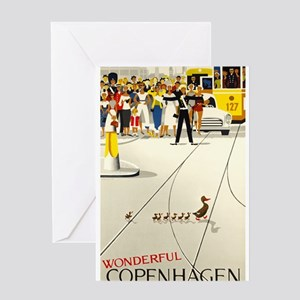Copenhagen, Ducks, Travel, Vintage Poster Greeting