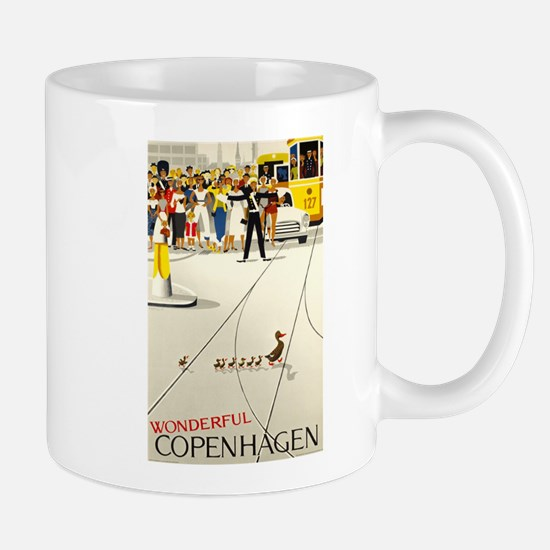 Copenhagen, Ducks, Travel, Vintage Poster Mug