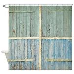Rustic Old Wood Doors Shower Curtain