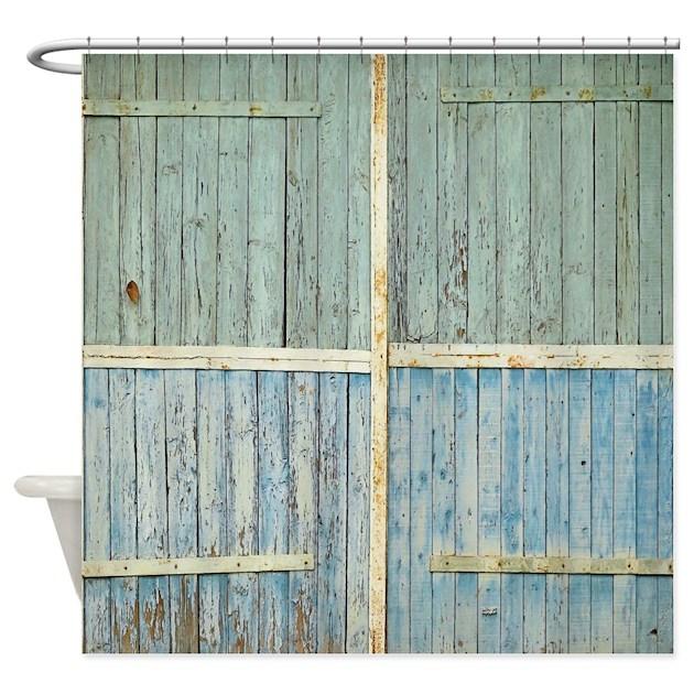 Rustic Old Wood Doors Shower Curtain By Rebeccakorpita