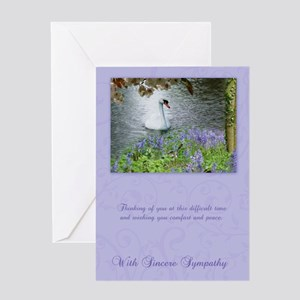 Swan Sympathy Greeting Card In Purple