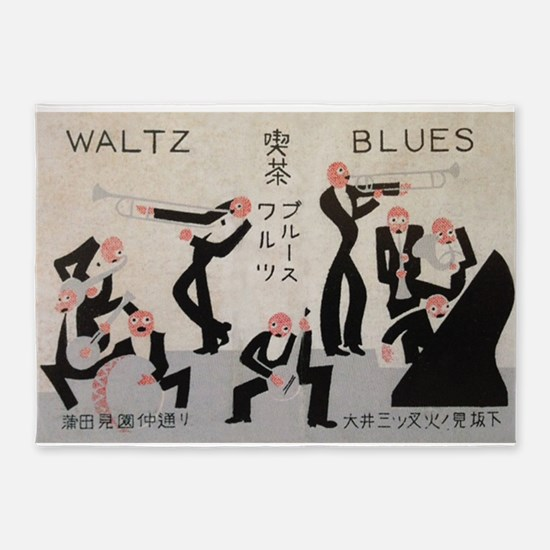 Jazz Band, Music, Vintage Poster 5'x7'Area Rug