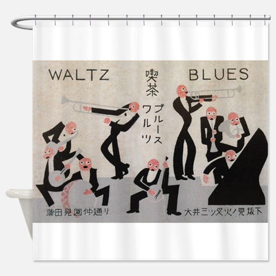 Jazz Band, Music, Vintage Poster Shower Curtain