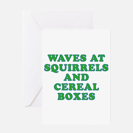 Waves at Squirrels and Cereal Boxes Greeting Card