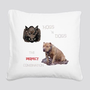 Hogs N Dogs Square Canvas Pillow