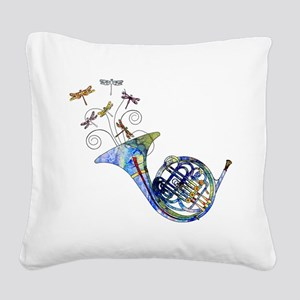 Wild French Horn Square Canvas Pillow