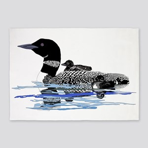loon with babies 5'x7'Area Rug