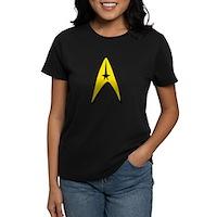 Star Trek Captain Badge Insignia Women's Dark T-Sh