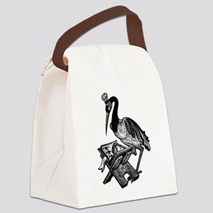 Reading Stork Canvas Lunch Bag