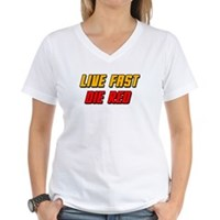 Live Fast Die Red Women's V-Neck T-Shirt