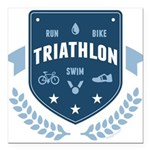 Triathlon Square Car Magnet 3