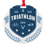 Triathlon Round Ornament