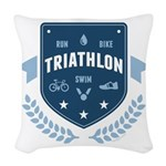 Triathlon Woven Throw Pillow