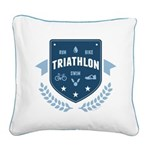 Triathlon Square Canvas Pillow