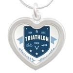 Triathlon Silver Heart Necklace