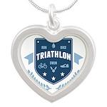 Triathlon Silver Heart Necklace