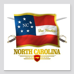 "North Carolina -Deo Vindice Square Car Magnet 3"" x"