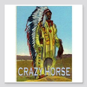 "CRAZY HORSE Square Car Magnet 3"" x 3"""