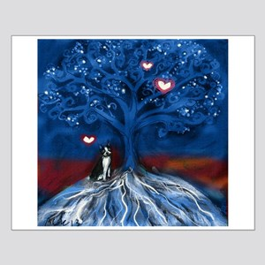 Boston Terrier love night glowing hearts tree Post