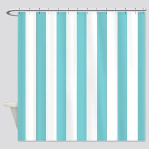 Turquoise and White Striped Shower Curtain