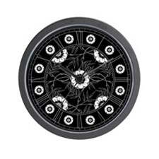 Black And White Flowers Motif Wall Clock