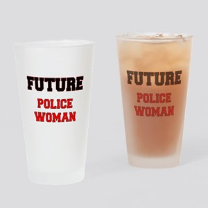 Future Police Woman Drinking Glass