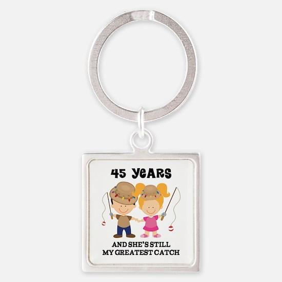 45th Anniversary Mens Fishing Square Keychain
