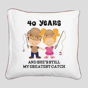 40th Anniversary Mens Fishing Square Canvas Pillow