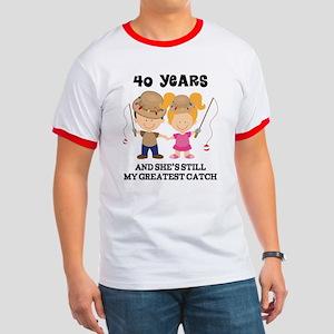 40th Anniversary Mens Fishing Ringer T
