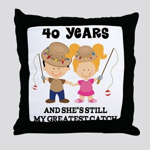 40th Anniversary Mens Fishing Throw Pillow