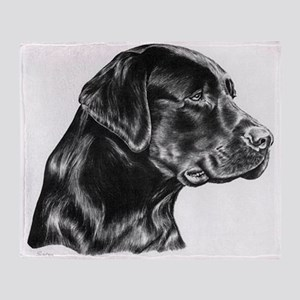 Black Lab drawing Throw Blanket
