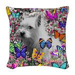 Violet White Westie Butterflies Woven Throw Pillow