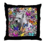 Violet White Westie Butterflies Throw Pillow