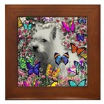 Violet White Westie Butterflies Framed Tile