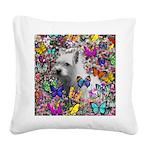 Violet Westie Buterflies Square Canvas Pillow