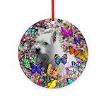 Violet White Westie Butterflies Ornament (Round)