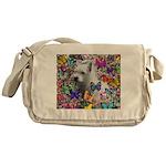 Violet White Westie Butterflies Messenger Bag