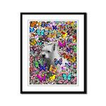 Violet White Westie Butterflies Framed Panel Print